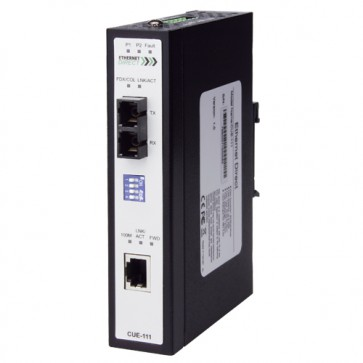 EthernetDirect CUE-113E | Industrial PoE Fast Ethernet Media Converter 1x 10/100Mb, 1x 100M SM Fibre (SC), Ext Temp