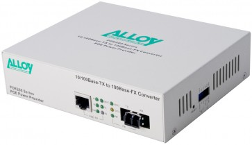 ALLOY POE200LC | PoE PSE Fast Ethernet Media Converter 100Base-TX to 100Base-FX (LC), LFP, 2Km