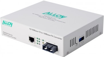 ALLOY POE200SC | PoE PSE Fast Ethernet Media Converter 100Base-TX to 100Base-FX (SC), LFP, 2Km