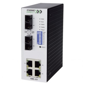EthernetDirect HME-423E | Industrial 6 Port SNMP Managed Switch 4x 10/100Mbps, 2x 100FX SM Ports, Ext Temp