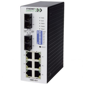 EthernetDirect HME-621E | Industrial 8 Port SNMP Managed Switch 6x 10/100Mbps, 2x 100Base-FX Ports, Ext Temp
