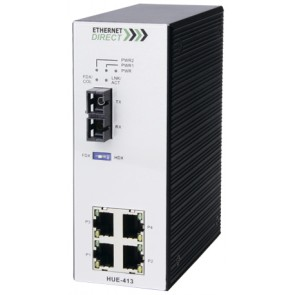 EthernetDirect HUE-413E | Industrial 5 Port Unmanaged Ethernet Switch 4x 10/100Mbps, 1x 100M SM Fibre, Ext Temp