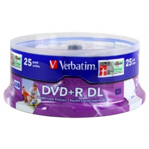 VERBATIM 43667 | DVD+R DL 8.5GB 25Pk WHT Wide IJ 8x