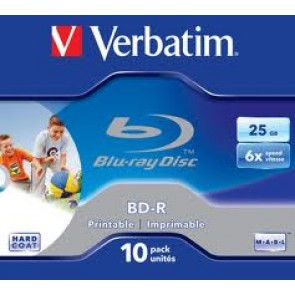 VERBATIM 43713 | BD-R 25GB 6X Wide White IJP 10pk JC