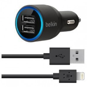 BELKIN F8J071BT04-BLK | Dual Car Charger 2.1a Lghtning/Sync Cble