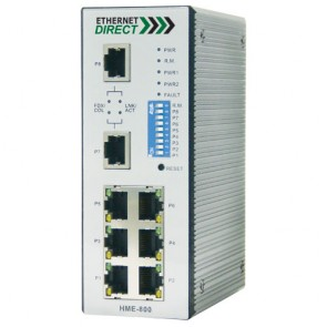 EthernetDirect HME-800E | Industrial 8 Port SNMP Managed Switch 8x 10/100Mbps Ports, Ext Temp
