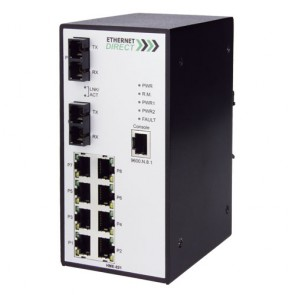 EthernetDirect HME-821E | Industrial 10 Port SNMP Managed Switch 8x 10/100Mbps, 2x 100Base-FX Ports, Ext Temp
