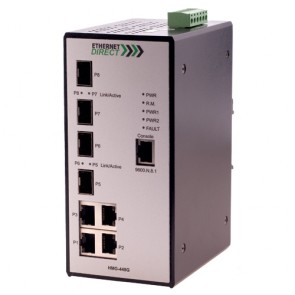 EthernetDirect HMG-448GE-CDU | Industrial 8 Port SNMP Managed Switch, 4x Gig and 4x SFP Ports, Ext Temp, C1D2, UL508