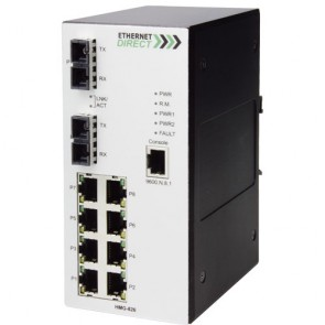 EthernetDirect HMG-826E | Industrial 10 Port SNMP Managed Switch 8x 10/100Mbps, 2x 1000Base-LX Ports, Ext Temp