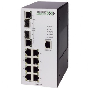 EthernetDirect HMG-828E-CD | Industrial 10 Port SNMP Managed Switch 8x 10/100TX, 2x Paired UTP/SFP Ports, C1D2